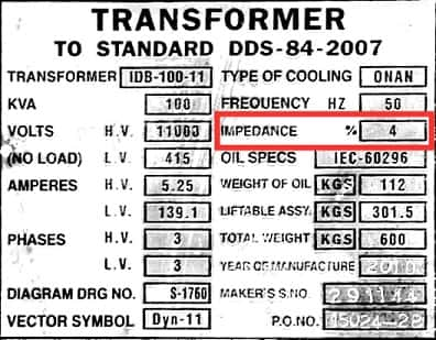 Percentage Impedance in Nameplate of Transforemer