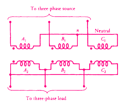 Star-delta connected three phase transformer