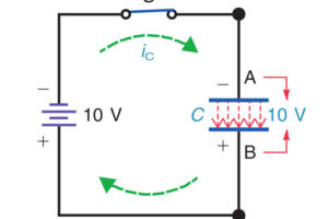 Battery charges capacitor to applied voltage
