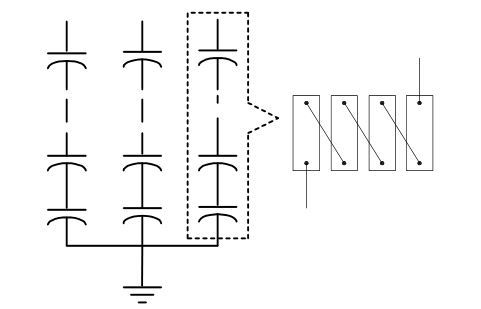Fuseless shunt capacitor bank and series string