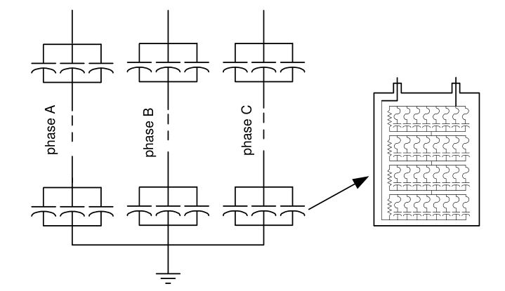 Internally fused shunt capacitor bank and capacitor unit
